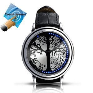 Stainless Steel Blue Hybrid Touch Screen LED Watch , With 60 Blue LED Lights, Leather Band, Support Touchscreen