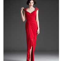 Mignon Fall 2013- Red Gathered Beaded Long Gown - Unique Vintage - Prom dresses, retro dresses, retro swimsuits.