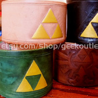 Legend of Zelda Inspired Triforce Leather Cuff Bracelet, Many Customizable Designs Available
