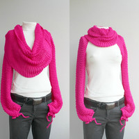 FREE Shipping Long sleeve Fuchsia Bolero Scarf Shawl Neckwarmer Mothers Day Gift under 100