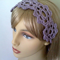 Purple Flower Headband, Summer Womens Hair Accessories, Crochet