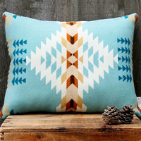 Geometric Wool Pillow // Echo Blue / cream / turquoise / ochre / teal