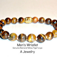 "Men's Wristlet Tiger's Eye Red and Yellow ""Driven"" Copper Beads"