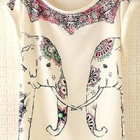 Cute Elephants Print Shirt with Flora Details ZCOB731 from topsales