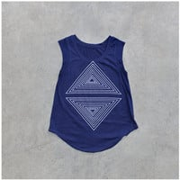 Tshirt for women - cap sleeve t shirt - geometric triangle print on navy blue a-line cotton tops - summer fashion - Rule of Thirds