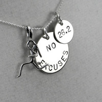NO EXCUSES Runner Girl DISTANCE Sterling Silver - Choose 16, 18 or 20 inch Sterling Silver Ball Chain - Choose 5k, 10k, 13.1 or 26.2