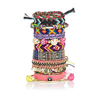 Multicoloured eclectic fabric bracelet pack - bracelets - jewellery - women