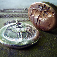 King of the Forest. Deer Wax Seal Necklace. Wax Seal Jewelry. Woodland Stag Fine Silver Pendant