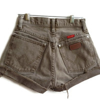 Vintage Wrangler High Waisted Denim Shorts Brown Jean Shorts Hipster Tumblr