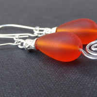 Orange Sea Glass Earrings:  Tangerine Tango and Vintage Filigree Beach Jewelry, Hammered Silver Swirl Pierced Dangle Earrings