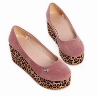 HOT Korean Women's Girls Leopard Wedges Heel Sandal Shoes Rhinestones Bowtie 1nE