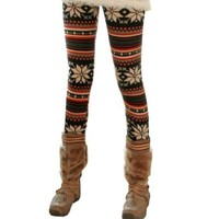 Rabbit Rachel Snowflake Christmas Pattern Winter Thick Warm Leggings