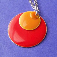 Statement Necklace with Red and Orange by SaritasJewelryBox