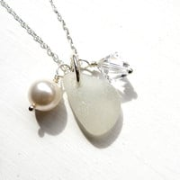 Snow White Sea Glass, Swarovski Crystal, Pearl Necklace