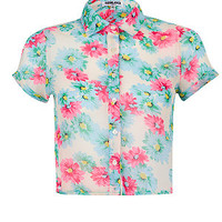 Teens Blue Pink and Cream Floral Crop Short Sleeve Shirt