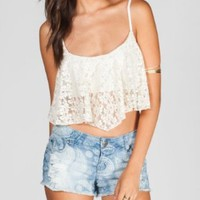 FULL TILT Womens Crochet Crop Top:Amazon:Clothing