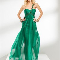 One shoulder Empire Jewels Chiffon Green prom dress PD10345