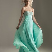 A-line Sweetheart Strapless Beaded Drape Turquoise Floor-length Prom Dress PD1233