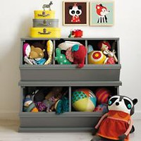 Kids' Toy Boxes: Kids Wooden Primary Stacking Storage 2 and 3 Bin in Toy Boxes & Storage | The Land of Nod