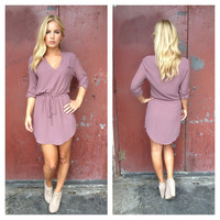 Mauve Drawsting 3/4 Slv Dress