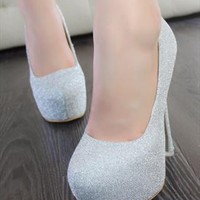 Glittered Heeled PU Shoes for Women Silver from topsales