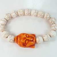 Tibet Buddhism Turquoise Orange Buddha Round White Beads Prayer Mala Stretchy Bracelet ZZ2230