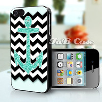 Mint Glitter Anchor Black Chevron   iPhone 4 Case by TaBCase