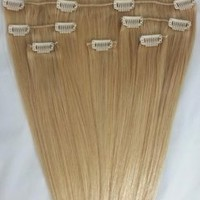 "18"" 100% Human Hair Extensions Clip in 7Pcs #22 Ash Blonde"