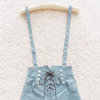 A 072402 Retro double-breasted high waist denim overalls803 from cassie2013