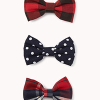 Plaid & Polka Dot Bow Hair Clips | FOREVER 21 - 1076568247