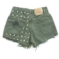 Olive Khaki Green High waisted studded shorts