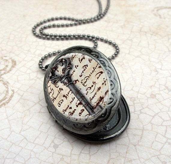 Key Locket Necklace Glass Dome Pendant Gunmetal by Lizabettas
