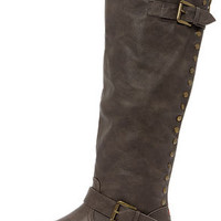 Bamboo Montage 83 Taupe Studded Knee-High Riding Boots