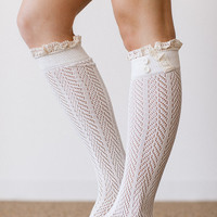 IVORY Lace Boot Socks Stretchy Over the Knee Knit by ThreeBirdNest