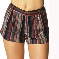 Southwestern Pattern Shorts w/ Belt