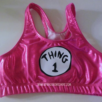 Thingy 1  PINK Metallic Sports Bra Cheerleading
