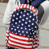 Cool American Flag Print Canvas Backpack