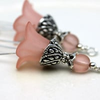 Vintage Style Peach Lucite Flower and Peach Frosted Glass Dangle Charm Drop Set - 2 Pieces