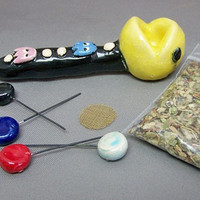 Pac Man Inspired Pipe Ceramic Clay & FREE Smoking by PotterHeads