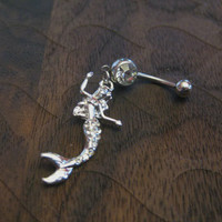 Mermaid with Crystal Rhinestones Belly Button Ring