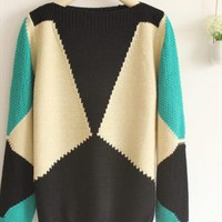 Blue geometrci sweater from Fanewant