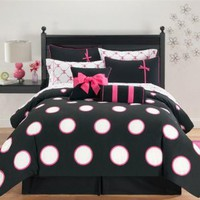 Hot Pink & Black Polka Dots Twin Comforter Set (8 Piece Bed In A Bag)