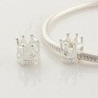 Mothers Day Gifts 1pc 925 Sterling Silver Crown Charms Beads Compatible with Pandora Chamilia Kay Troll European Bracelet