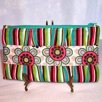 Clutch Purse with Divider Stripes and Flowers Turquoise Pink Green