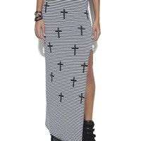 Striped High Side Split Maxi Skirt | Shop Bottoms at Wet Seal