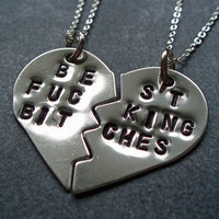 Best F&cking Bitches Necklace - Best Friends Gift - Best F%cking Friends - BFF Split Heart Necklaces -  Mature
