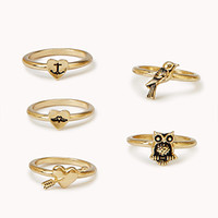FOREVER 21 Whimsical Ring Set Gold 7