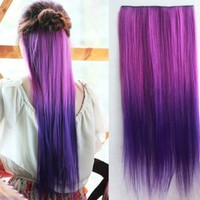 Uniwigs Ombre Dip-dye Color Clip in Extension 60cm Length Rose Red and Dark Purple Straight for Dreamlike Girls Tbe0008