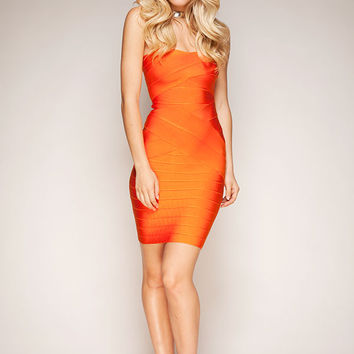 Clothing : Bandage Dresses : 'Leyla' Orange Strapless Bandage Dress