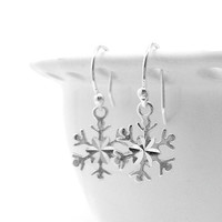 Snowflake Earrings, Sterling SIlver
